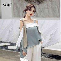 VGH solto elegante patchwork platter blusa para mulheres colarinho quadrado mangas bateu cor camisa casual feminino moda nova roupa 210421