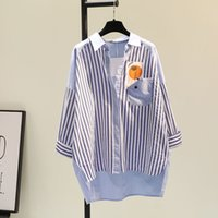 Women's Blouses & Shirts Long cotton shirt with vertical stripes, single-pocket female casual and spring 8DWU