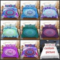 Mandala colorido cubierta de cama conjuntos de ropa de cama impresos 3D estilo de bohemia geométrico estilo de patrón 2/3 PCS cubiertas de edredón con fundas de almohadas para adultos niña gemela reina completa reina tamaño king