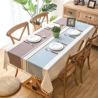 Table Cloth Plaid Decorative Linen Tablecloth With Tassel Waterproof Oilproof Thick Rectangular Wedding Dining Cover Tea