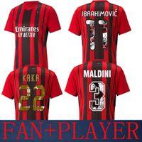 21 22 AC Especial Milán Inicio Kaka Soccer Jerseys Jersey Versión + Fan 2021 2022 (Impresión de estilo de galería) Ibrahimovic Maldini Jersey Camisetas de fútbol