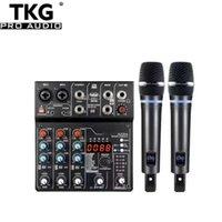 TKG Dual Channel Wireless Microfono Audio Mixer Set AD14 88DSP Sound Small UHF con USB BT registrazione Karaoke KTV