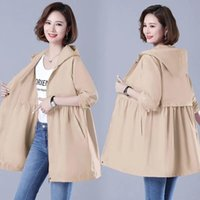 Women's Trench Coats Double-layer Lining Windbreaker Mid-length Coat 2021 Spring Autumn Korean Loose Hooded Large Size M-4XL