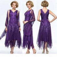 Purple Chiffon Tea-length Mother Of The Bride Dresses with Wrap V-neck A-Line Mother's Dress Formal Prom Dress
