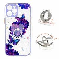 360 Metal Finger Ring Holder Cases For Samsung A21S S21 Ultra S20 A12 A32 4G A42 A52 A72 5G Bling Glitter Hard Acrylic TPU Hybrid Butterfly Flower Shockproof Back Cover