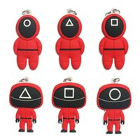 Soft Silicone Squid Game Keychains Mini Figurine Toys Silica Gel Car Key Rings Halloween Cosplay Costume Decoration Backpack Pendant Square Round Triangle Boss