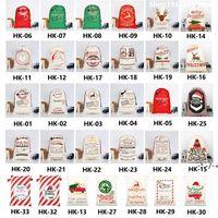 Personnalisé Santa Santa Santa Toile de Noël Sacs-cadeaux Candy avec Xmas Eve Apple Sac Festival Décoration de fête pour enfants 39 Styles ZZF11104