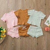 Çocuk Giyim Takım Elbise Bebek Katı Pamuk Makale Çukur Giyim Seti Yaz Kısa Kollu T-Shirt Şort Pantolon Takım Elbise 2 adet Bebek Nefes Giysi WMQ1170