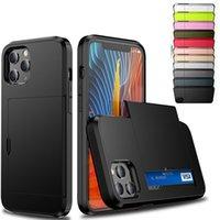 Caixa colorida do telefone da armadura com caso do cartão da corrediça para iphone 6 7 8PLUS x XR XS Max 11 11 Pro 12 12 Mini Samsun Nota 20
