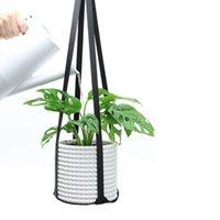 현대 가죽 식물 옷걸이 식물 식물 옷걸이 끈 꽃 냄비에 매달려 현대 벽 천장 실내 zyy994
