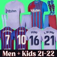 21 22 바르셀로나 축구 유니폼 2021 2022 Pedri Messi Ansu Fati Camiseta Futbol Griezmann De Jong Kun Aguero Maillots Foot Top Thailand 축구 셔츠