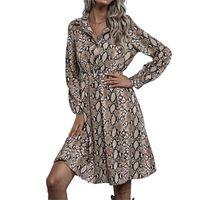 Casual Dresses Womens Snake Print Fashion Dress Elegant Long Sleeve Kimono Cardigan Femme Snakeskin Serpentine Sundress Party Club