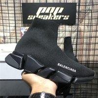 En Kaliteli Balenciaga Ayakkabı Hız Eğitmenler Erkek Kadın Tasarımcılar Rahat Üçlü S Örgü Çorap Beyaz Siyah Haki Filigran Mens Bayan Yumuşak Platformu Eğitim Sneakers
