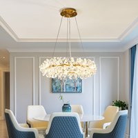 Nordic Luxury Large Crystal Chandelier lamp 40 60 80cm Ring Living Room Decoration Bedroom Light Fixtures Carlota lighting