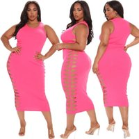 Casual Dresses Plus Size Women Clothing Temperament Commuter Pink Round Neck High Waist Hollow Penil For Summer 2021 Wholesale Items