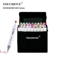 30/40/60/80/168 Marcadores de cor definir mangás marcadores de desenho caneta álcool baseado em esboço de feltro gêmeo pincel pincel caneta arte suprimentos