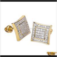 Consegna DROP 2021 Designer di lusso Designer Orecchini Dichiarazione Hip Hop Jewelry Iced Out Diamond Orecchino oro 925 Sterling Sterling Stud Earing Fashio