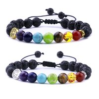 Natural stone 7 Chakra Black Lava Stone Weave Tree Of Life Bracelets Aromatherapy Essential Oil Diffuser Bracelet For Women Men jewelry