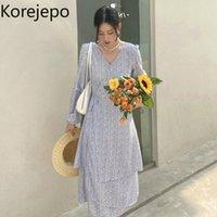 Casual Dresses Korejepo Women Dress 2021 Early Autumn Korean Chic Retro Gentle Fairy Temperament Floral High Waist Slim Long Female