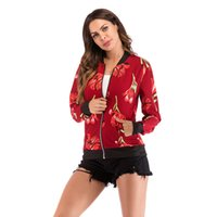 Весна осень женские цветочные бомбардировщики плюс размер короткие женские пальто молния Chaquea Eartwear с длинным рукавом женские куртки