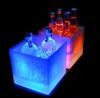 New3500ml Rechteck LED-Licht Eis Eimer Leuchtende Doppelschicht Square Eimer Kunststoff Nichttoxische Wasserdichte Küchenbart Werkzeuge Durable EWA5055