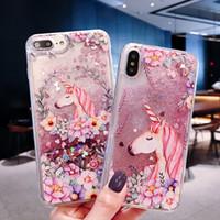 Cep Telefonu Kılıfları Samsung Seriesel Silikon Kılıf Için Quicksand Özel Sıvı Şeftali Çiçeği Unicorn Balina Yunus