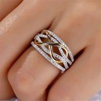 패션 무한대 사랑 반지 여성을위한 골드 하트 링 2 톤 결혼식 큐빅 지르콘 CZ 크리스탈 링 Y0420