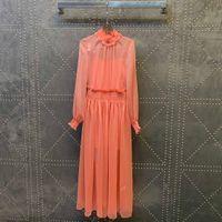 2021 Milan Runway dresses Ruffled Long Sleeve Ruffle Women's Designer Dress Brand Same Style Dress 1212-11