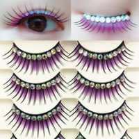 False Eyelashes Colored Exaggerated Latin Performance Thick Fake Shimmery Show Color Big Eye Makeup Lashes Glue