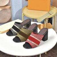 Dernier été Femmes 7.5cm Hauts High High Heels Sandal Sandal Sandal Dames Casual Saniers Sandales à talons Sandales en plein air Shopping Lettres Pantoufles Boîte 35-40
