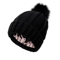 Beanie Skull Caps Fur Pom Beanie Hats Womens Winter Knitted Hat Warm Knit Cap Pure Color Skullies For Women