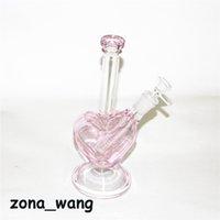 9-дюймовый розовый стеклянный бонг Форма сердца Chokah Clakah Shisha Beaker DAB вышка для курения Водопроводный фильтр Filter Bubbler W Loke ловец