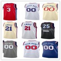 Impreso Phila Basketball Jersey Joel 21 Embiid Ben 25 Simmons Tobias 12 Harris Shake 18 Milton Seth 31 Curry Danny 14 Green Dwight 39 Howard City Ganed Edition