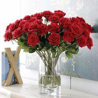 Декоративные цветы венки искусственные красные розы высококачественные ветви в вазах Поддельный букет свадьба Флореса artificiais Росас навсегда