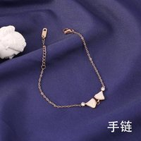 Link, Chain Titanium Steel Rose Gold Small Fan Skirt Shell Bracelet Non-Fading Inlaid Gem Hand Jewelry Bracelets For Women
