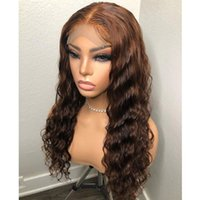 Peruvian Dark Brown Deep Wave 360 Lace Frontal Human Hair Wigs With Natural Hairline 200Density Glueless 13x6 Remy