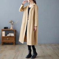 Trenchs de Femmes Coats Vanovich Casual et American Casual Plus Taille Longue Breaker 2021 Automne Hiver Vintage Vêtements Femmes Vêtements