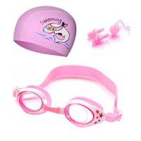 Crianças natação óculos crianças desenhos animados tampões de natação orelha plugue profissional golfinho menino óculos impermeável chapéu de piscina óculos de proteção