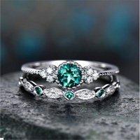 Cluster Rings 925 Silver Color Emerald Diamond Ring For Women Green Jade Gemstone Anillos De Jewelry Bizuteria Diamante