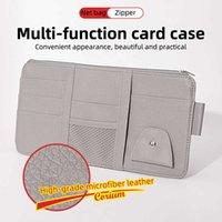 Car Sun Visor Storage Bag Bill Pen Business Card Holder CD Organizer Zipper Box Sunglasses Clip Stowing Tidying Car Accessories