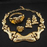 أقراط قلادة yoomuna أحدث الفخامة البرازيلي الذهب والمجوهرات الزفاف مجموعة الإيطالية 24 قيراط مطلي الزفاف المبالغة مجموعات كبيرة