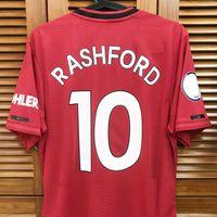 19/20 m_u jogo desgastado jogador edição casa camisa jersey mangas curtas Pogba Rashford Futebol Futebol Patches Patrocinador