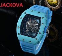 High Quality Mens Ghost Head Skeleton Watches 43MM rubber silicone waterproof sapphire glass Quartz Movement hollow wristwatch montre de luxe