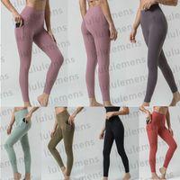2021 Lu Выровняйте йогу наряд женщины новейшие двухсторонние маскированные высокие талии боковые карманные леггинсы спортивные дизайнер обрезанные брюки высококачественные брюки фитнес W1AO #