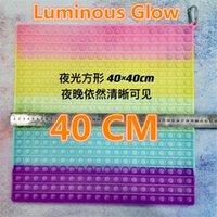 Luminous Glow 40CM!!! Super Size Fidget Toys Rainbow Bubbles Push Fidget Sensory Toy Stress Reliever Board Games Reusable Squeeze Toys
