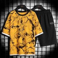 Summer Mens Casual Set Fashion 2 Pcs Sportswear Suit Short Sleeve T-shirt Shorts Sets Male Tracksuit Men 4xl