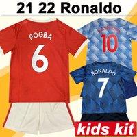 21 22 Pogba Ronaldo Kit Kit Kit Soccer Jerseys Rashford Mata Fred Casa Away 3rd Camicia da calcio Marziale Lingardo B. Fernandes Bambino Manica corta