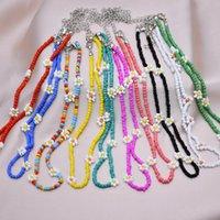 Chokers bohemian färgglada frö pärla blomma choker halsband uttalande kort krage clavicle chain för kvinnor smycken bijoux