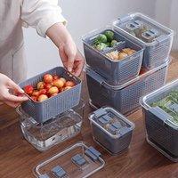 Küchenkunststoff Aufbewahrungsbox Frische Kasten Kühlschrank Obst Gemüseablaufküche Küche Lebensmittelbehälter Aufbewahrungsbox X0703