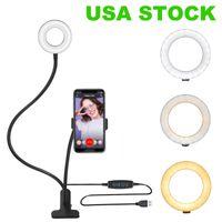Etats-Unis La lumière de remplissage de la bague LED est alimentée par USB Skin Soin prenant des photos Trépied en direct Stand 3 lumières Modes de couleur Température de couleur 3000k à 6000k